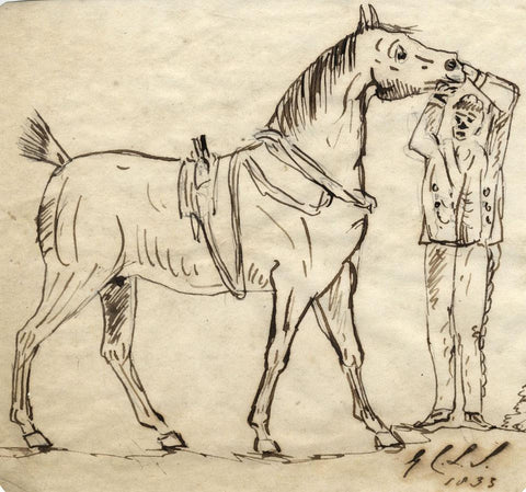 Charles Loraine-Smith, Horse & Rider - Original 1833 pen & ink drawing