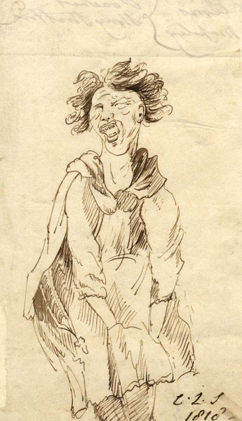 Charles Loraine-Smith, Portrait of Anguish - Original 1818 pen & ink drawing
