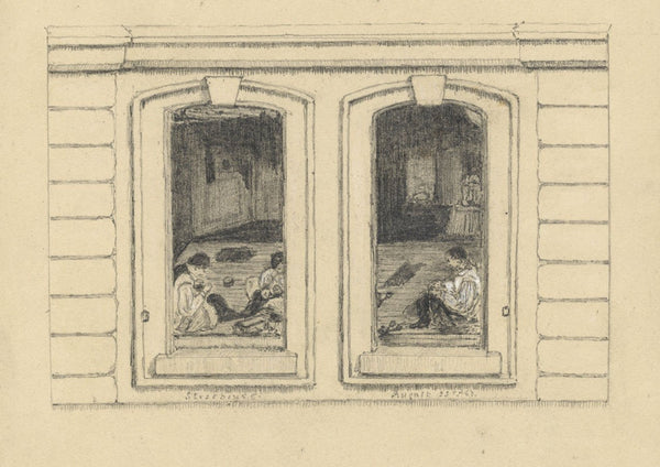 Adeline Frances Mary Dart, Boys Sewing, Strasbourg Window -1862 graphite drawing