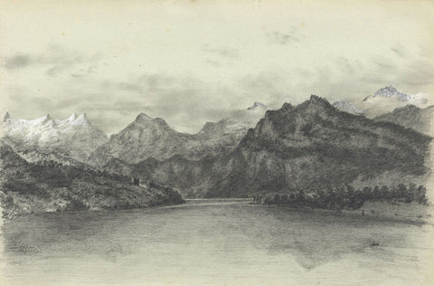 Adeline Frances Mary Dart, Lake Lucerne, Switzerland - 1867 graphite drawing