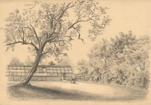 Adeline Frances Mary Dart, Bellevue Greenhouse, Salisbury -1866 graphite drawing