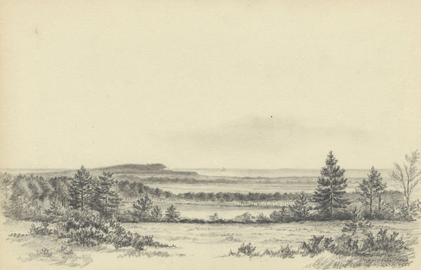 Adeline Frances Mary Dart, Hengistbury Head, Bournemouth - 1868 graphite drawing