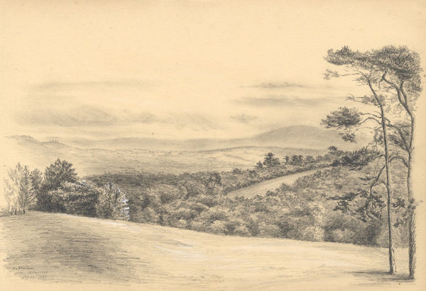 Adeline Frances Mary Dart, Dartmoor View - 1867 graphite drawing