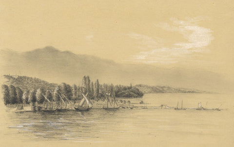 Adeline Frances Mary Dart, Barque du Leman Boats, Lake Geneva - 1860 drawing