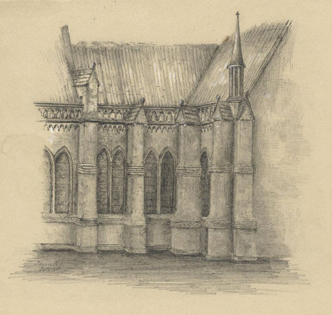 Adeline Frances Mary Dart, Salisbury Cathedral, Old Sarum -1860 graphite drawing