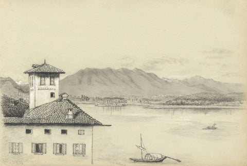 Adeline Frances Mary Dart, Lake Maggiore, Arona, Italy - 1864 graphite drawing