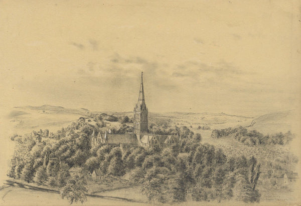 Adeline Frances Mary Dart, Salisbury Cathedral from Harnham Hill - 1865 drawing