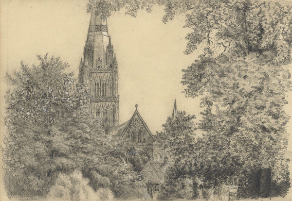 Adeline Frances Mary Dart Salisbury Cathedral from Bishops Grounds -1864 drawing