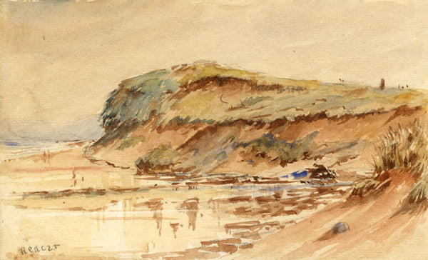 Arthur Simpson, Beach View, Redcar, Yorkshire - 1930s watercolour painting