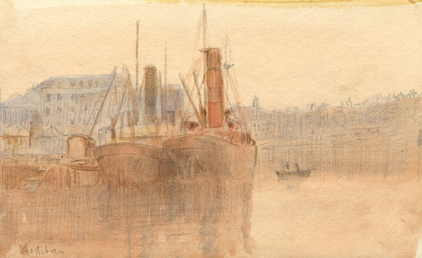 Arthur Simpson, Steamships in Dock, Stockton -Original 1922 watercolour painting