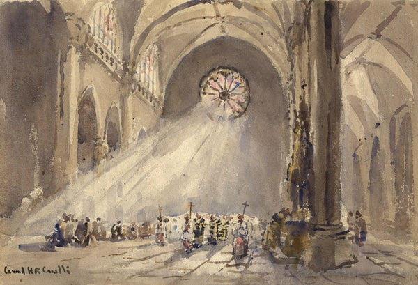 Conrad H.R. Carelli, Strasbourg Cathedral -Early 20th-century watercolour painting