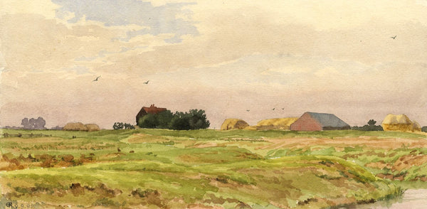 A.K. Rudd, Fenland Farm View, East Anglia - Original 1899 watercolour painting