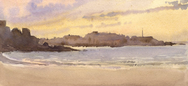 A.K. Rudd, Coastal View at Sunset - Original 19th-century watercolour painting