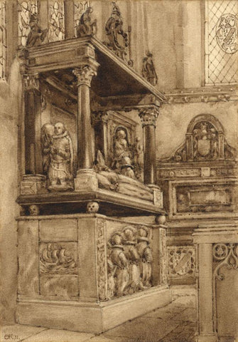 A.K. Rudd, Warrior's Chapel, Canterbury Cathedral - 1911 watercolour painting