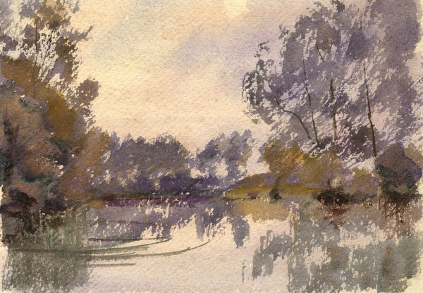 A.K. Rudd, Impressionistic River View - Late 19th-century watercolour painting