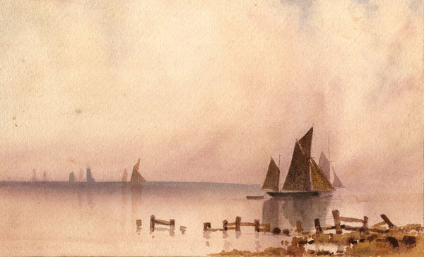 A.K. Rudd, Sailing Boats at Calm Water, Evening - Late 19th-century painting