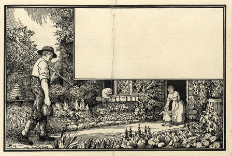 A.K. Rudd, Artwork for Book Illustration Child in Garden -1914 pen & ink drawing