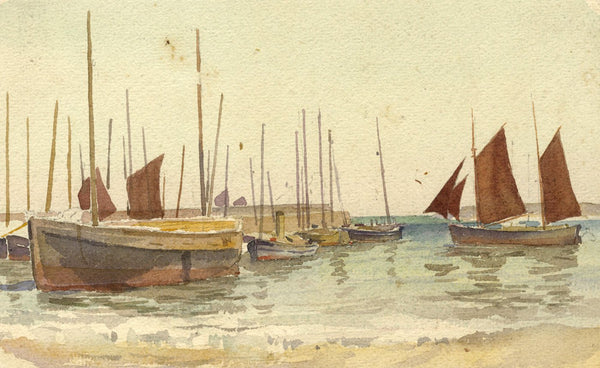 A.K. Rudd, Sailing Boats by the Quay - Late 19th-century watercolour painting