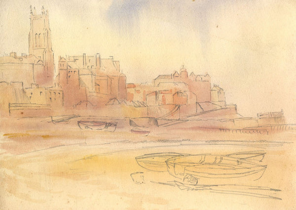 A.K. Rudd, Cromer from the Beach Norfolk -Late 19th-century watercolour painting