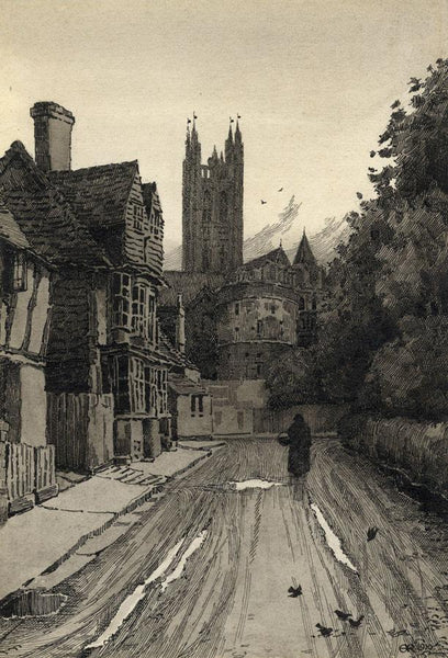 A.K. Rudd, Cathedral View with Figure, Canterbury - 1910 pen & ink drawing