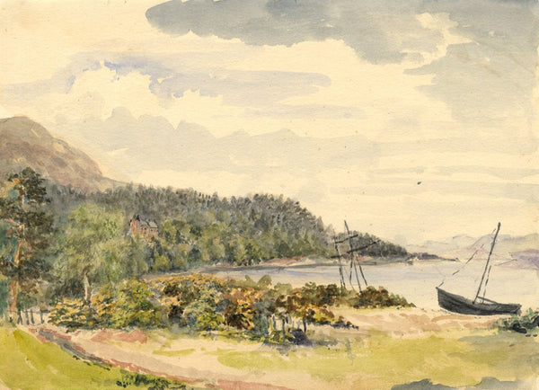 A.C. Cowan, Brodick Bay, Isle of Arran - 1870s watercolour painting