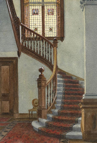 E.E. Cowan, Staircase, Hartley House Interior, Ayr - 1877 watercolour painting