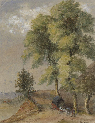E.E. Cowan, Elm Trees with Tudor Horse & Wagon - 1870s watercolour painting