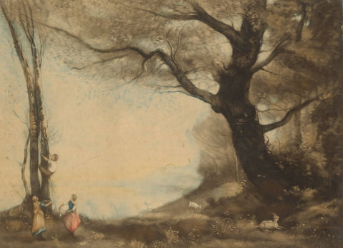 C. Fitzgerald after Corot, Children Climbing Trees - Original 1921 mezzotint print