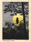 Allan Furniss, Moonlit Owl Silhouette, Lochmaben - 1940s watercolour painting