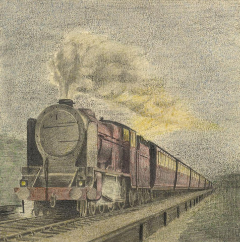 Allan Furniss, Thames–Clyde Express, LMS Steam Train - 1940s graphite drawing