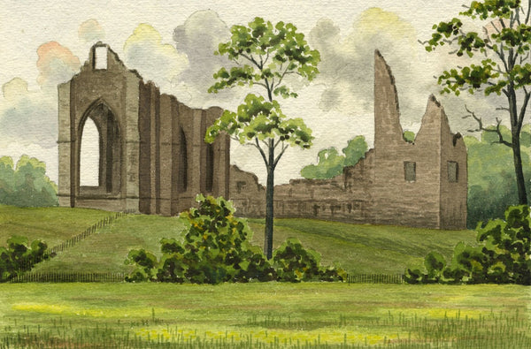 Allan Furniss, Lincluden Abbey, Dumfries, Scotland - 1940s watercolour painting