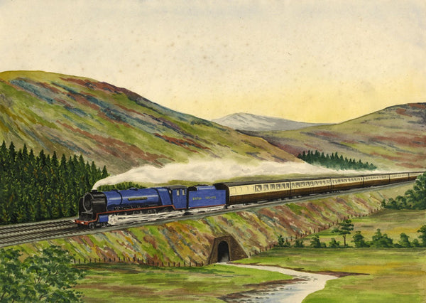 Allan Furniss, Royal Scot, Steam Train Locomotive - 1948 watercolour painting