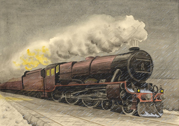 Allan Furniss, Steam Train Locomotive at Night - 1940s watercolour painting