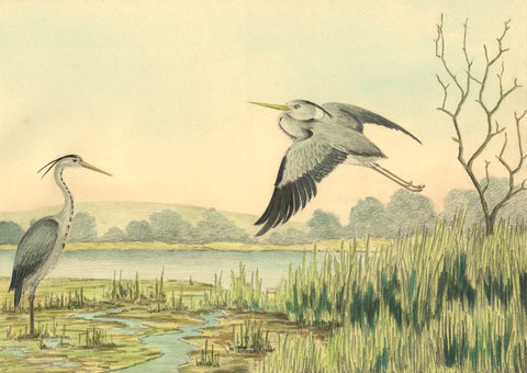 Allan Furniss, Herons, Hightae Mill Loch, Lochmaben - 1940s watercolour painting