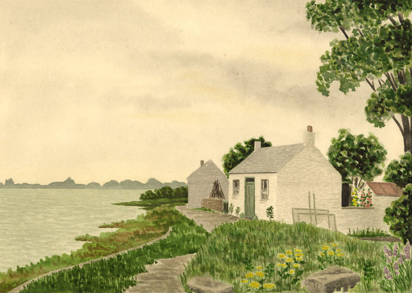Allan Furniss, Cottages, Browhouses Bay, Gretna - 1940s watercolour painting