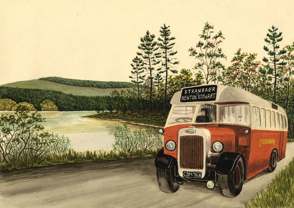 Allan Furniss, Caledonian Bus by Auchenreoch Loch - 1940s watercolour painting