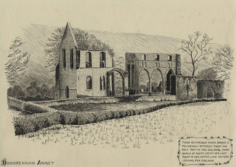 Allan Furniss, Dundrennan Abbey, Kirkcudbright, Scotland - 1940s ink drawing