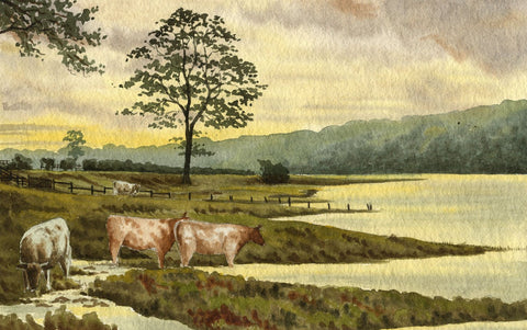 Allan Furniss, Twilight Cows, Dee, Kirkcudbright - 1940s watercolour painting