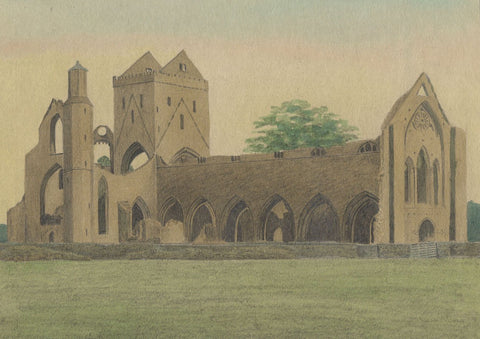 Allan Furniss, Sweetheart Abbey, Dumfries, Scotland - 1940s watercolour painting