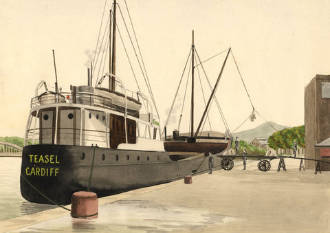 Allan Furniss, Teasel Cargo Ship, Kirkcudbright Port -1940s watercolour painting