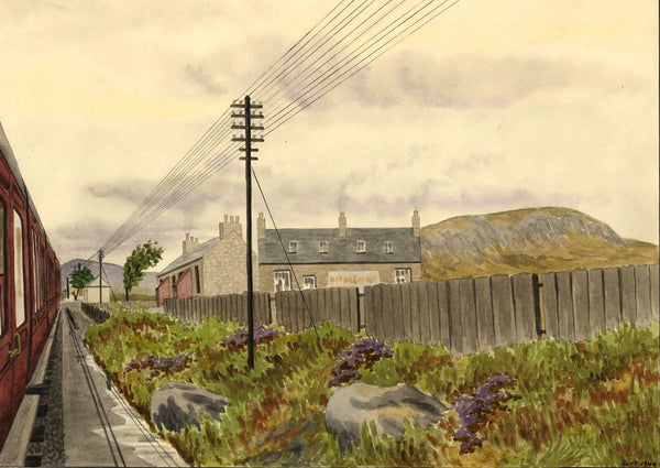 Allan Furniss, Railway Cottages, Loch Skerrow Halt - 1940s watercolour painting