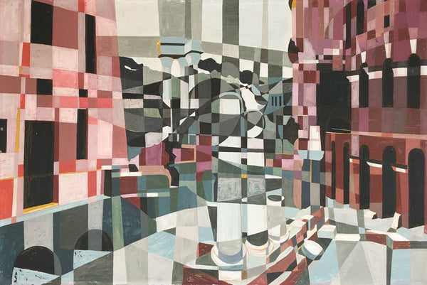 James Arnold Martin, Colosseum, Rome - Mid-20th-century Cubist acrylic painting