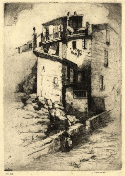 Bennett, Old Town, Antibes, Côte d'Azur - Early 20th-century etching print