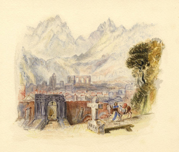 After J.M.W. Turner, Aosta, Italy - 1830s watercolour painting