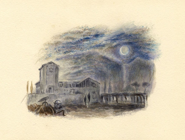 After J.M.W. Turner, Galileo's Villa, Italy - 1830s watercolour painting