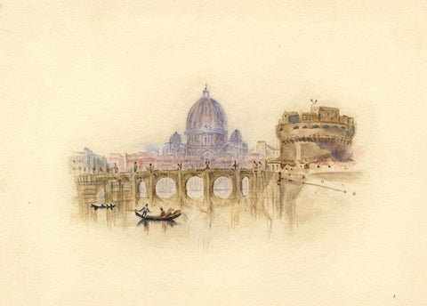 After J.M.W. Turner, Castle of St Angelo, Rome, Italy - 1830s watercolour painting