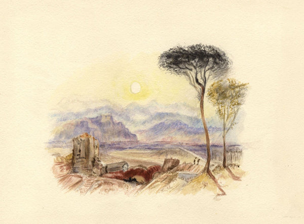 After J.M.W. Turner, Perugia, Italy - 1830s watercolour painting