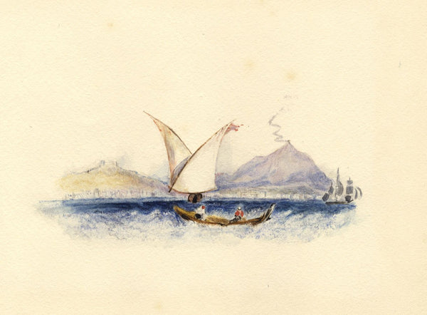 After J.M.W. Turner, Bay of Naples, Italy - 1830s watercolour painting