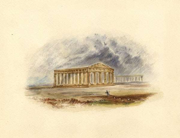 After J.M.W. Turner, Temples of Paestum, Greece - 1830s watercolour painting