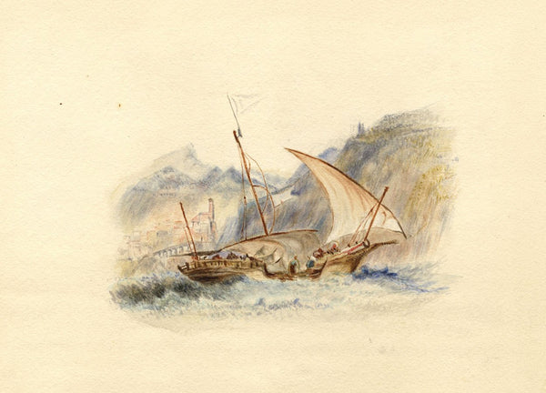 After J.M.W. Turner, Amalfi, Italy - 1830s watercolour painting